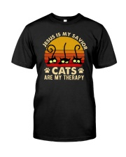 Jesus Is My Savior Cats Are My Therapy Classic T-Shirt front