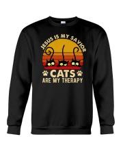Jesus Is My Savior Cats Are My Therapy Crewneck Sweatshirt tile