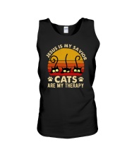 Jesus Is My Savior Cats Are My Therapy Unisex Tank tile