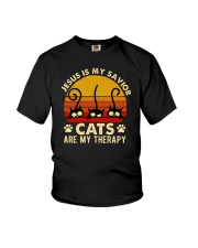 Jesus Is My Savior Cats Are My Therapy Youth T-Shirt tile