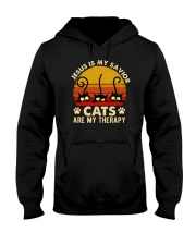 Jesus Is My Savior Cats Are My Therapy Hooded Sweatshirt tile