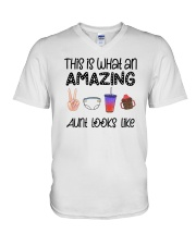 This Is What An Amazing Aunt Looks Like V-Neck T-Shirt tile