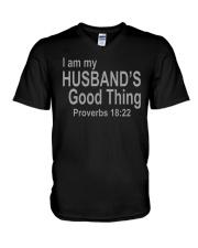 I Am Husband's Good Thing Proverbs 18:22 V-Neck T-Shirt tile