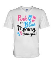 Pink Or Blue Mommy Loves You V-Neck T-Shirt tile