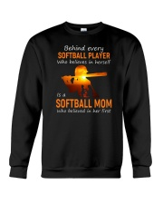 Behind Every Softball Player Softball Mom Crewneck Sweatshirt tile