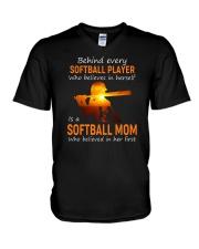 Behind Every Softball Player Softball Mom V-Neck T-Shirt tile
