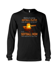 Behind Every Softball Player Softball Mom Long Sleeve Tee tile