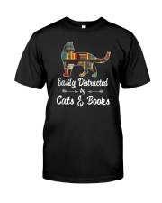 Easily Distracted By Cats And Books Classic T-Shirt front