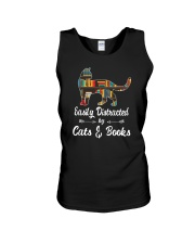 Easily Distracted By Cats And Books Unisex Tank tile