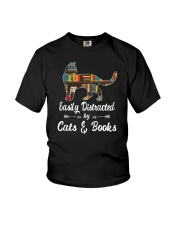 Easily Distracted By Cats And Books Youth T-Shirt tile