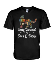 Easily Distracted By Cats And Books V-Neck T-Shirt tile