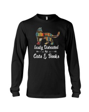 Easily Distracted By Cats And Books Long Sleeve Tee tile