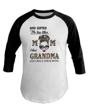 God Gifted Me Two Titles Mom And Grandma Baseball Tee tile