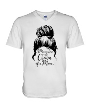 A Messy Bun Is The Crown Of a Mom V-Neck T-Shirt tile