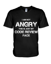 Code review face V-Neck T-Shirt tile