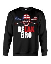 American Flag Relax Bro Lacrosse T-sh Crewneck Sweatshirt thumbnail