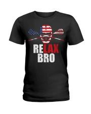 American Flag Relax Bro Lacrosse T-sh Ladies T-Shirt thumbnail
