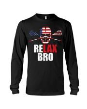 American Flag Relax Bro Lacrosse T-sh Long Sleeve Tee thumbnail