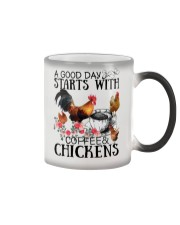 A good day strarts with coffee and chickens Color Changing Mug color-changing-right
