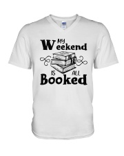 My Weekend Is All Booked Funny Reading Book Lover V-Neck T-Shirt tile