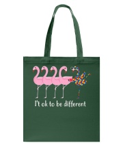 Flamingo It's ok To Be Different Autism Awareness Tote Bag thumbnail