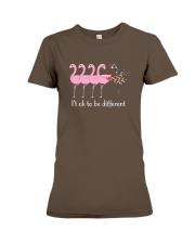 Flamingo It's ok To Be Different Autism Awareness Premium Fit Ladies Tee front