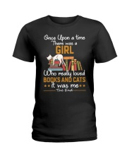 There was girl who really loved books cats Ladies T-Shirt thumbnail