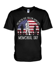 Honor the fallen heroes memorial day US Flag V-Neck T-Shirt thumbnail