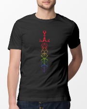 DND rainbow dice set sword slaying dragons dungeon Classic T-Shirt lifestyle-mens-crewneck-front-13