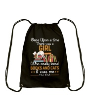There was girl who really loved books cats Drawstring Bag thumbnail