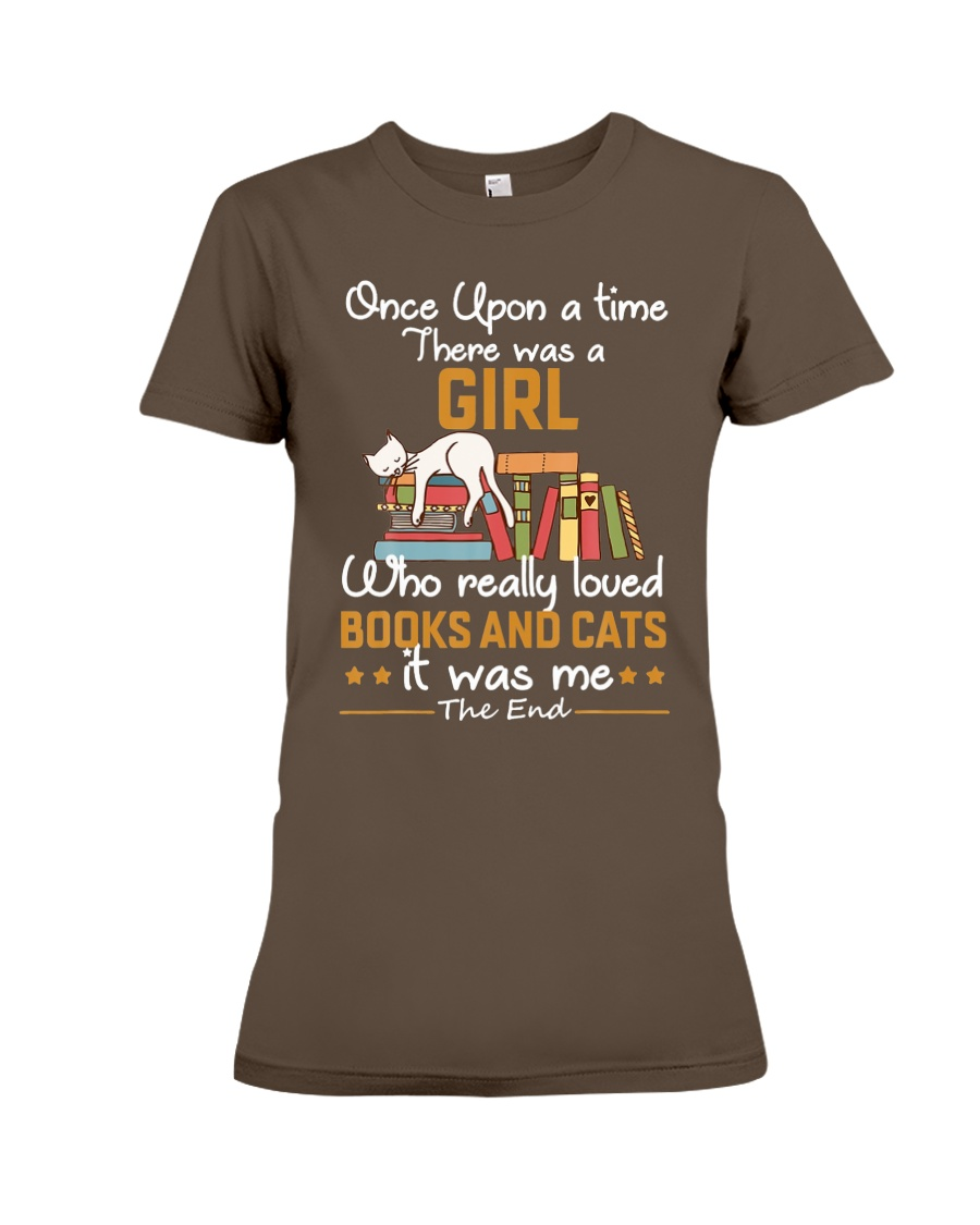 There was girl who really loved books cats Premium Fit Ladies Tee