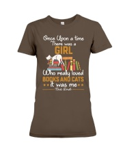 There was girl who really loved books cats Premium Fit Ladies Tee front