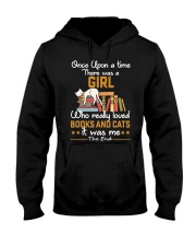 There was girl who really loved books cats Hooded Sweatshirt thumbnail