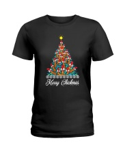 Merry Chickmas Chicken Christmas tree funny X-mas Ladies T-Shirt thumbnail