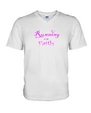Running on Faith V-Neck T-Shirt front