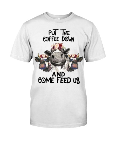 Put the coffee down and come feed us - cow