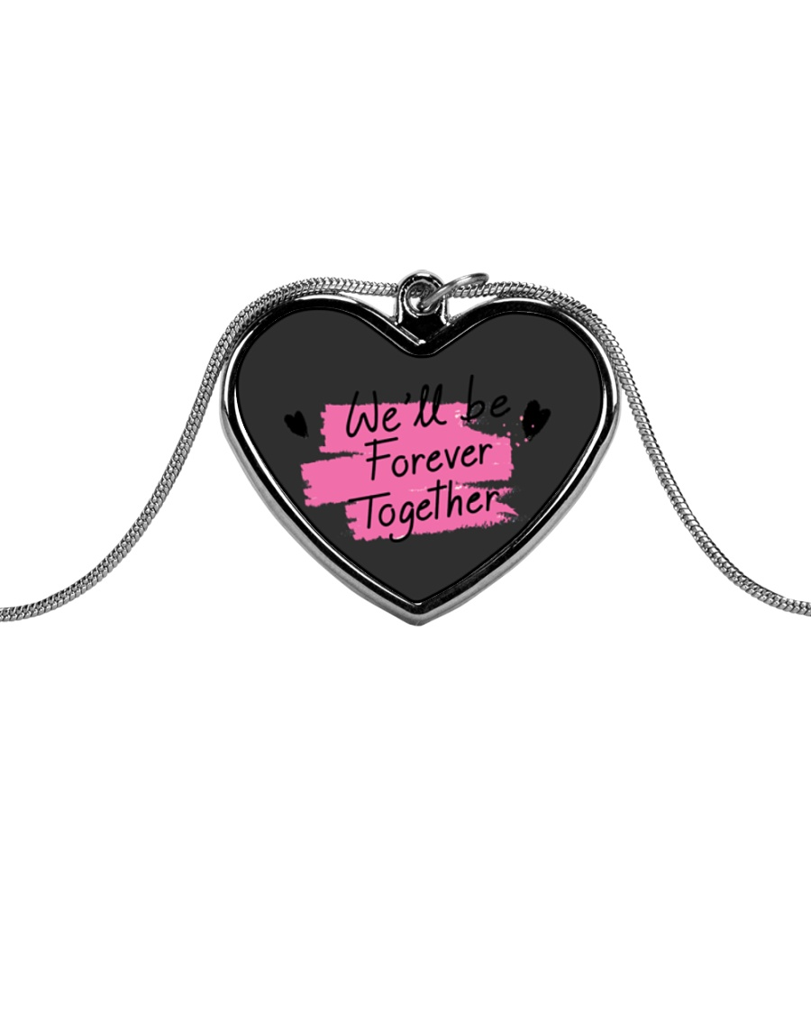 We'll be Forever Together Metallic Heart Necklace