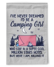 "Camping Girl Tent Flag 11.5""x17.5"" Garden Flag front"