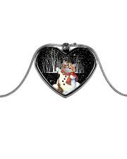 Christmas cat pendant Metallic Heart Necklace front
