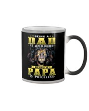 Being a Dad is an honor being a Papa is priceless Color Changing Mug tile