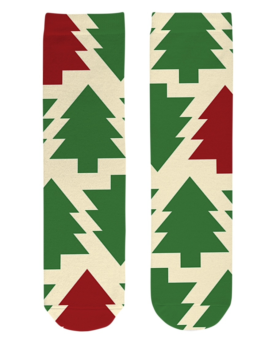 Christmas Tree Socks  Crew Length Socks