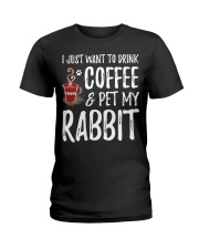 Rabbit Lover Coffee T-Shirt Funny Bunny Ladies T-Shirt tile