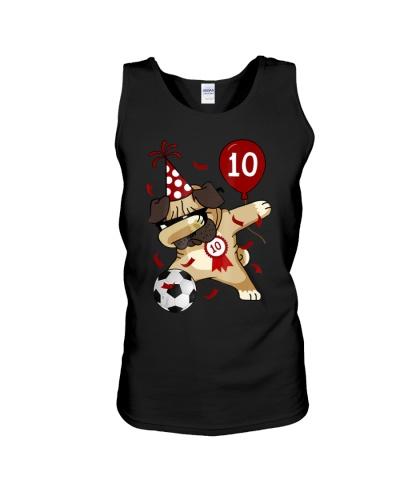 10th Birthday T-Shirt Dabbing Dog Pug Soccer