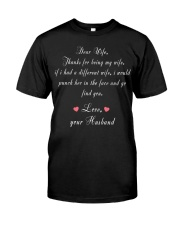 Dear Wife Thanks for Being My Wife Classic T-Shirt front