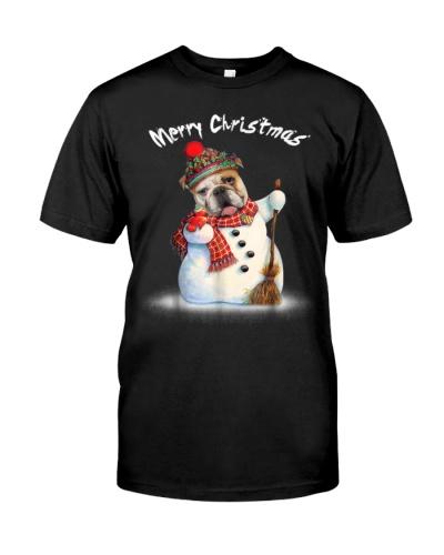 Merry Christmas Bulldog Snowmen Tshirt