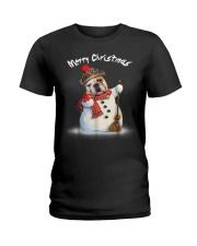 Merry Christmas Bulldog Snowmen Tshirt Ladies T-Shirt thumbnail
