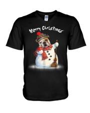 Merry Christmas Bulldog Snowmen Tshirt V-Neck T-Shirt thumbnail