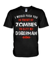 Lover Push To Save My Doberman From Zombie Shirt F V-Neck T-Shirt thumbnail