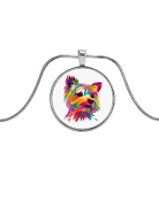 Yorkie Art 4 Metallic Circle Necklace front