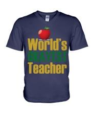 World's Okayest Teacher V-Neck T-Shirt thumbnail